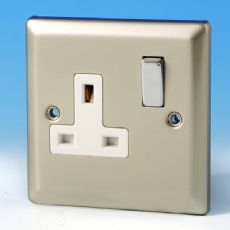Varilight 1 Gang 13 Amp Switched Electrical Plug Socket Satin Chrome Dec Switch White Insert XN4DW
